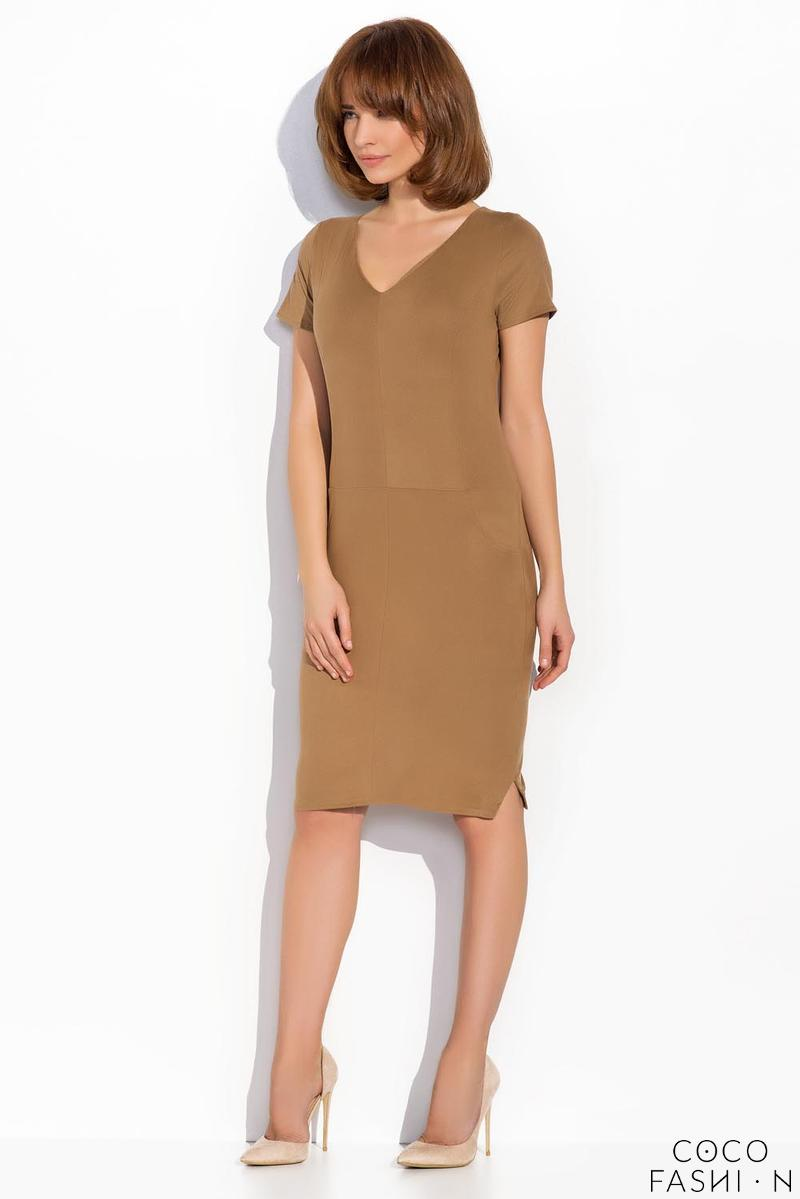 Brown Knee Length Short Sleeves Dress