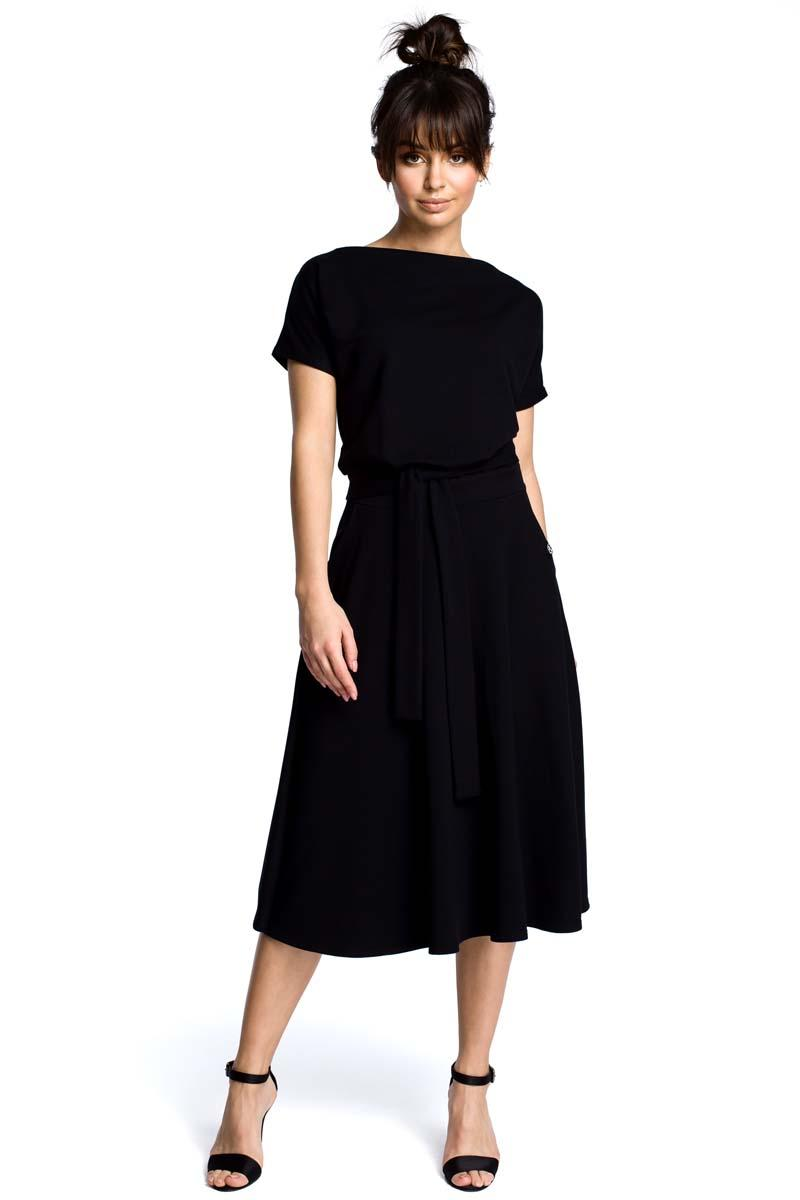 Black Midi Flared Dress Tied at the Waist