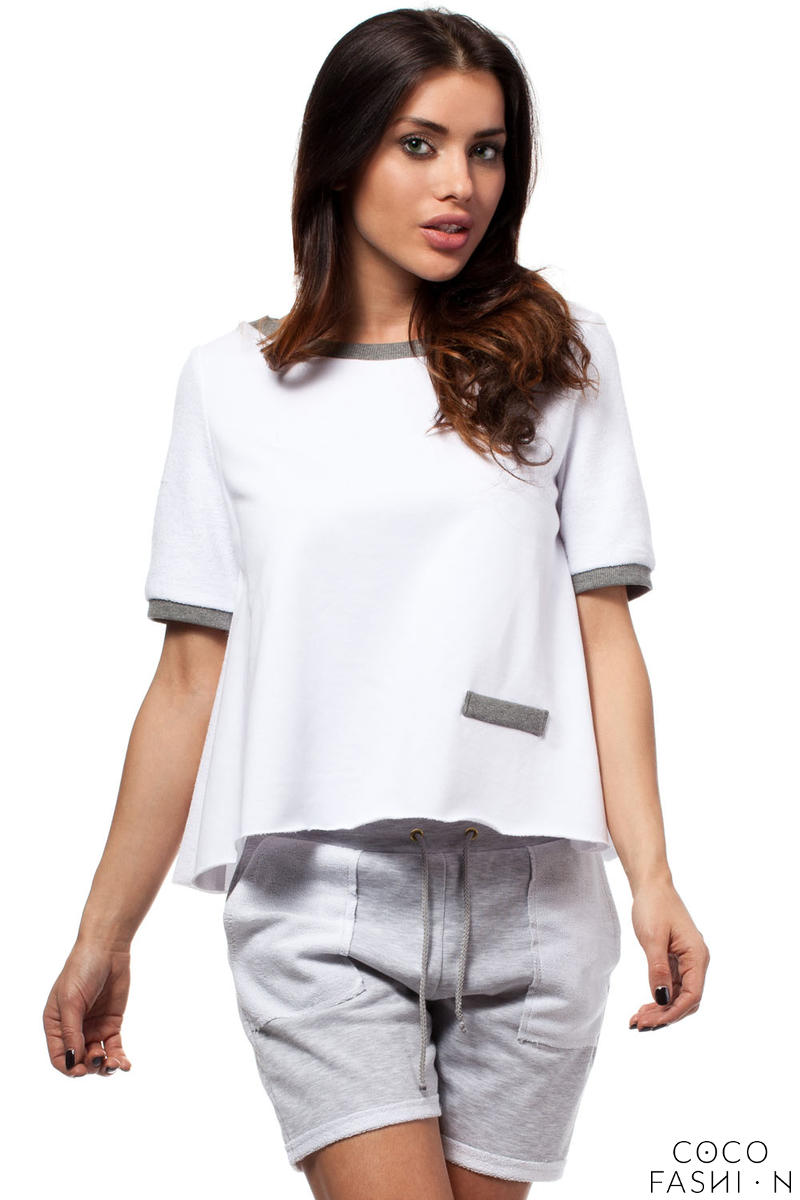 White Cropped Blouse with Crossover Back