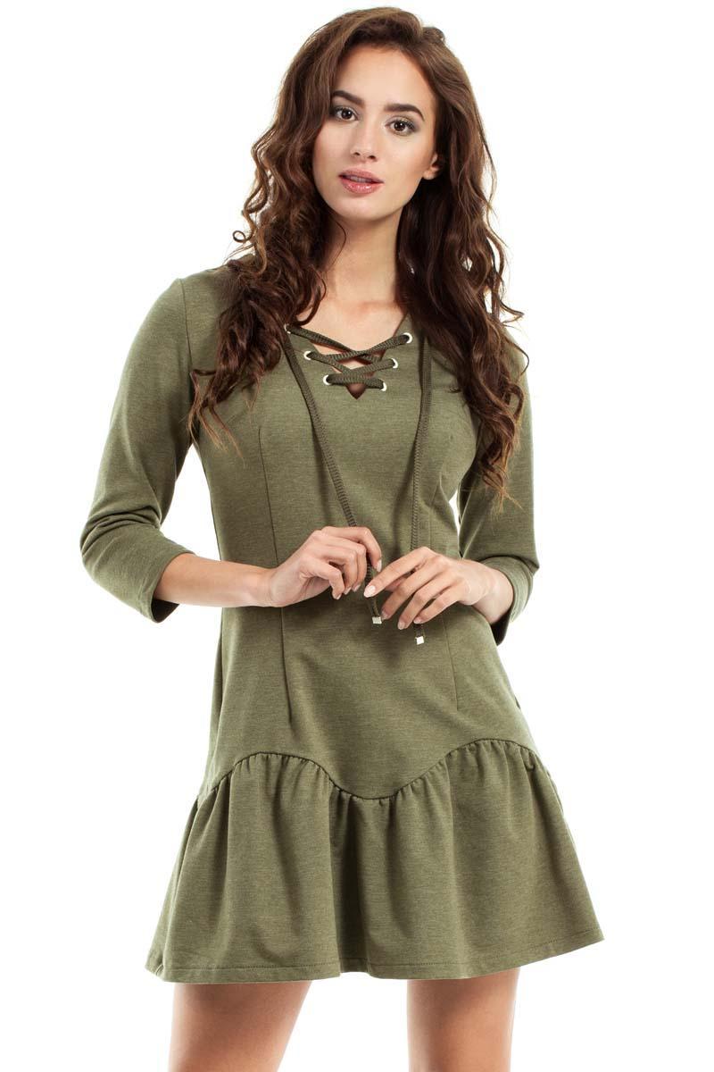 khaki-lace-up-neckline-dress
