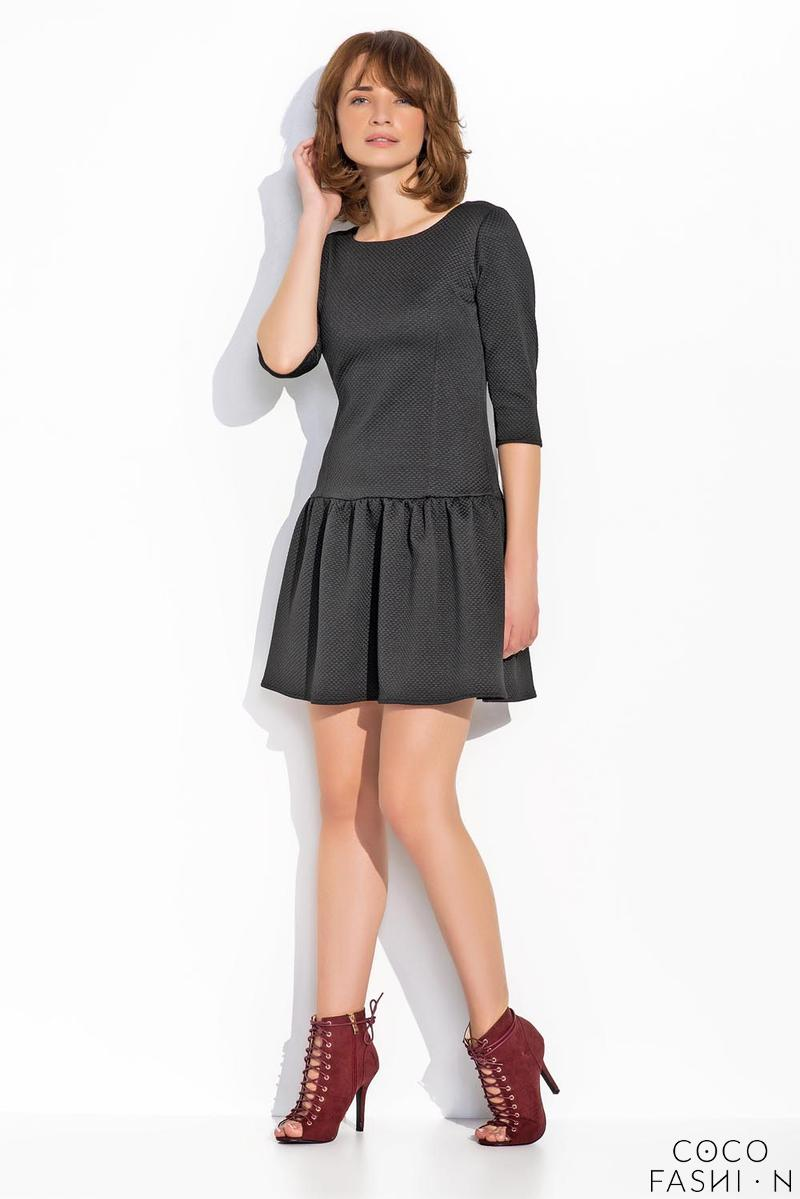 Black Delicate Pattern Mini Dress with Frill