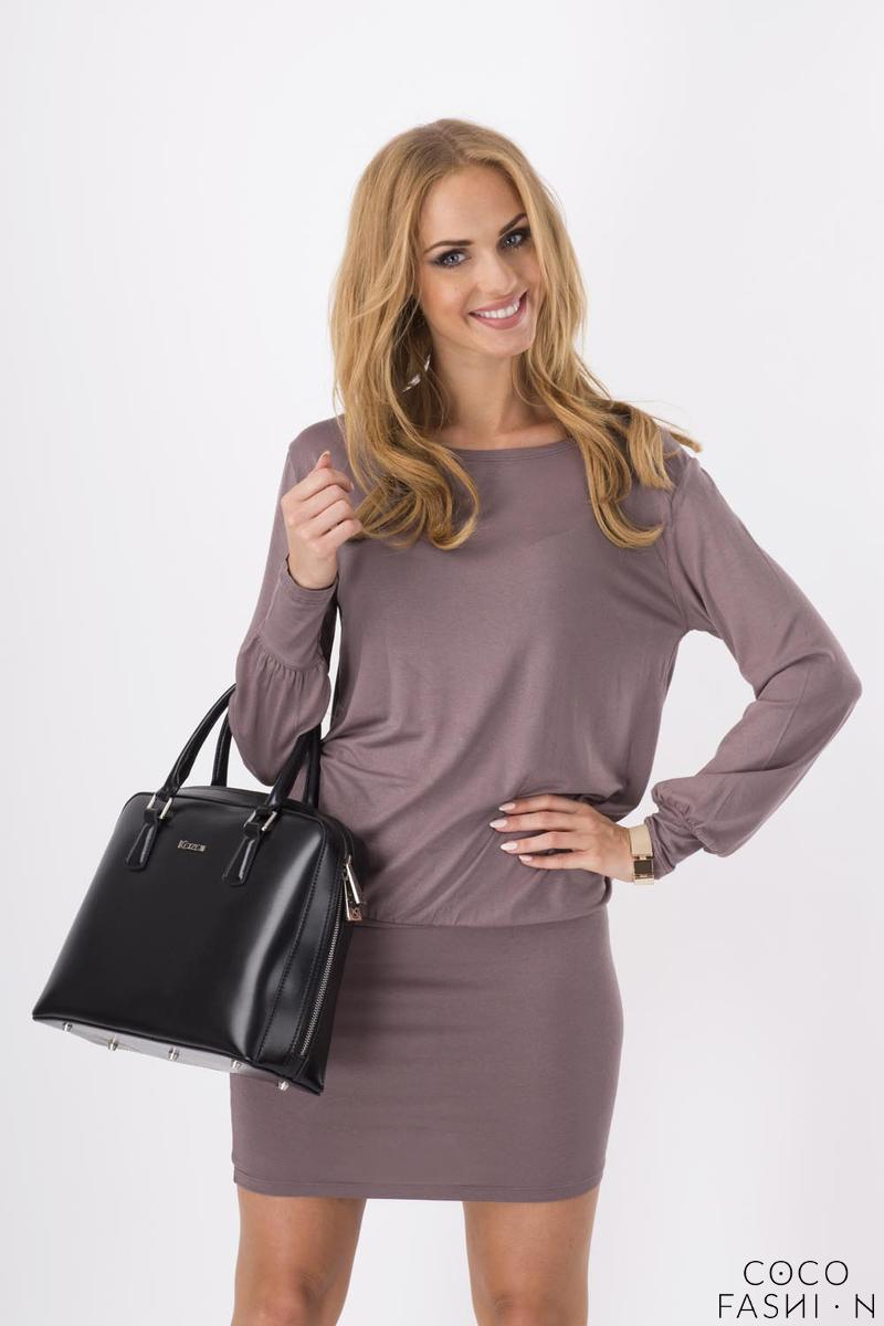 Cappuccino Bat Sleeves Fitted Skirt Mini Casual Dress