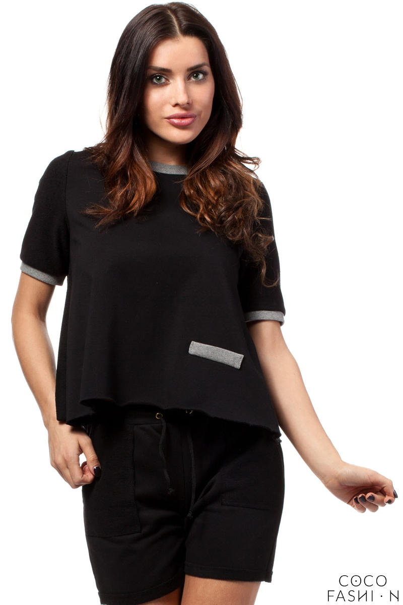 Black Cropped Blouse with Crossover Back