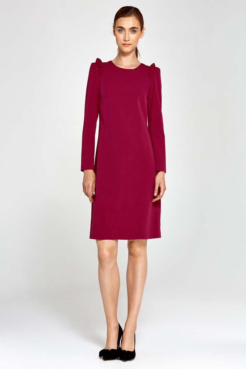 Dark Red Flared Dress with Frills on The Shoulders