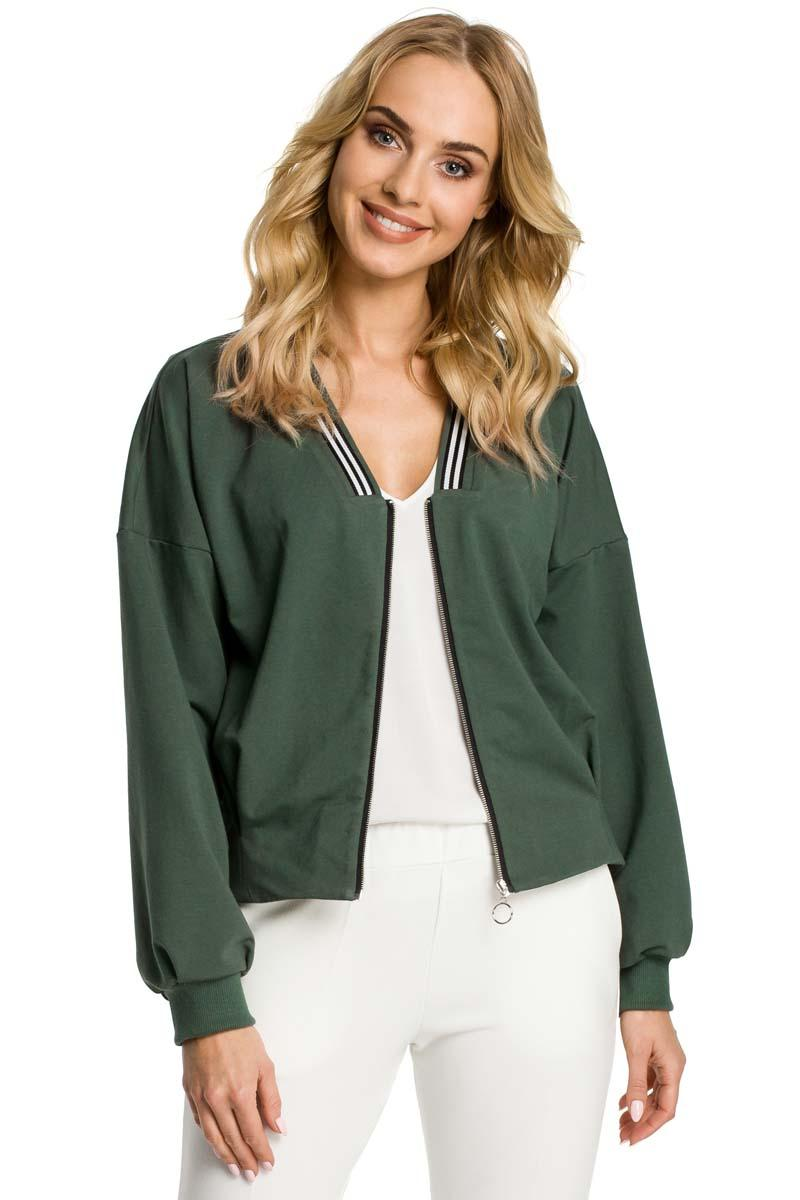 Khaki Bomber Jacket Fastened with Silver Zipper