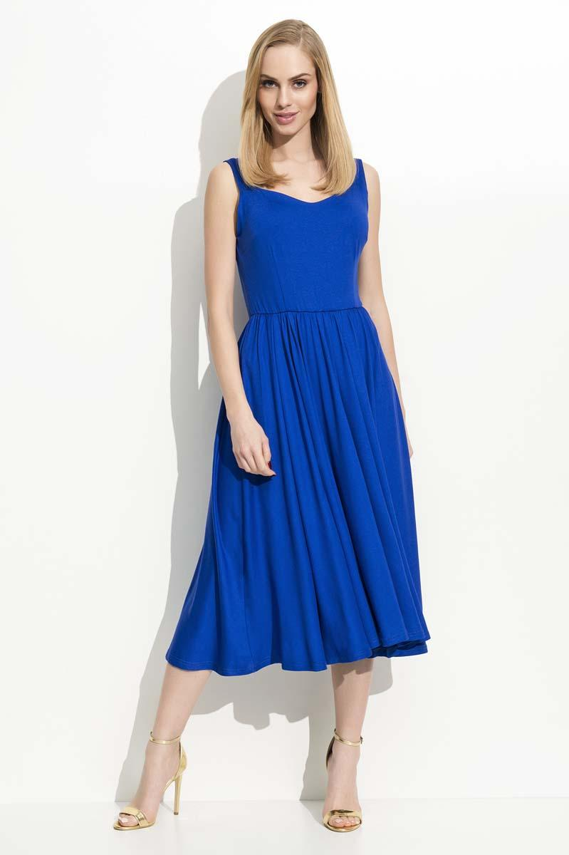 Blue Wide Straps Midi Dress
