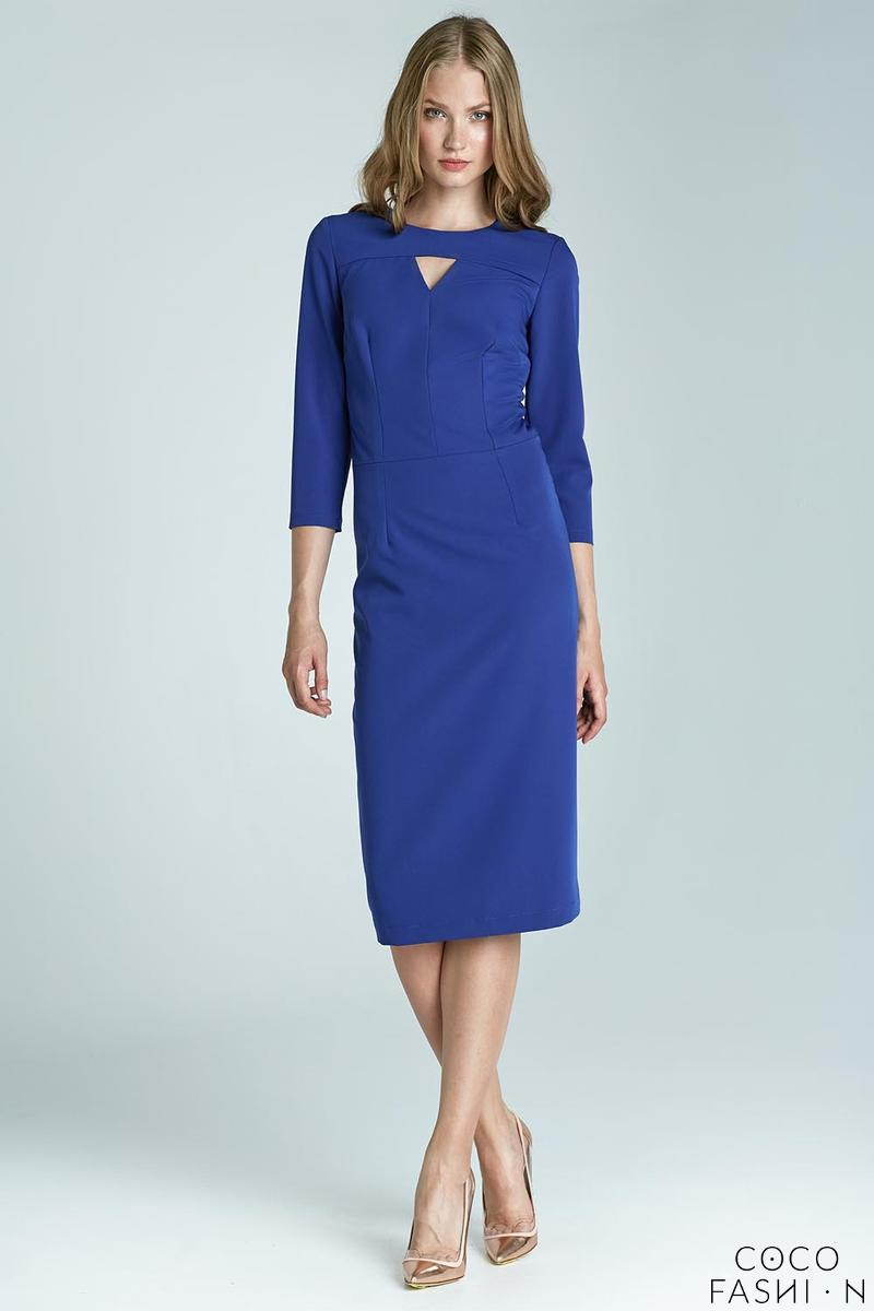 Blue Elegant Midi Dress with Cut Out Detail
