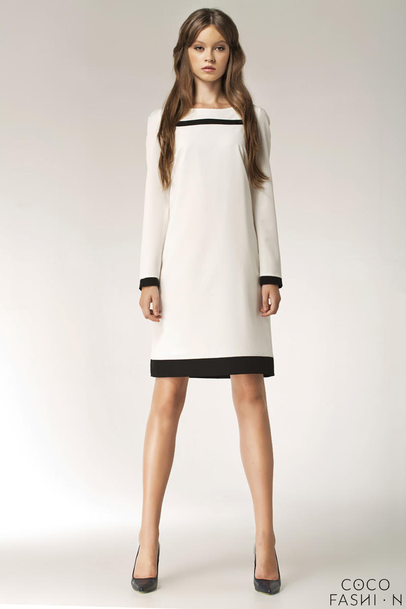 Ecru Stylish Sunken Office Shift Dress от cocofashion