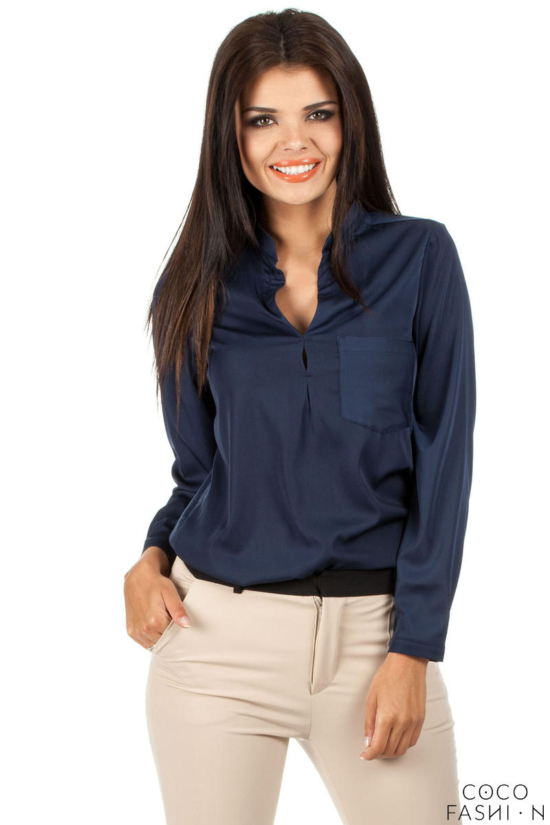 Navy Blue Medici Collar Silky Feel Shirt