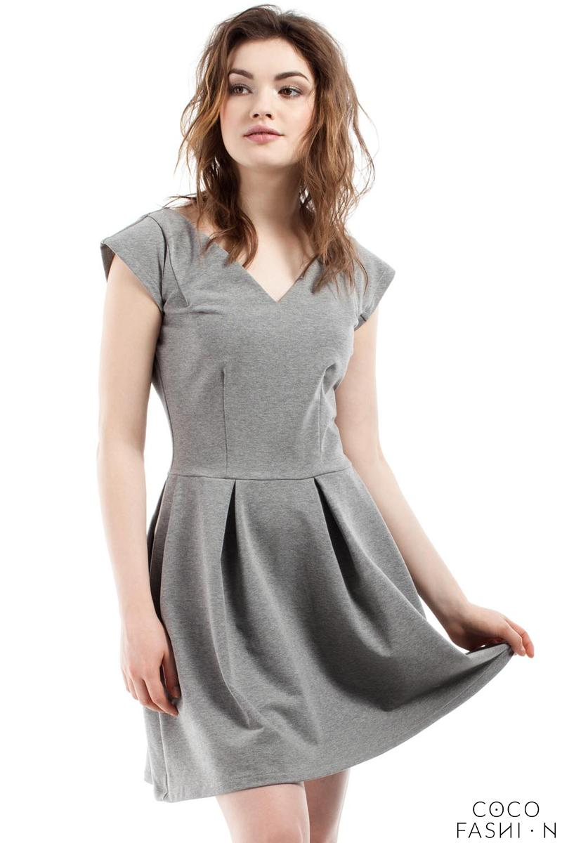 Grey Coctail Pleated V-Neckline Dress