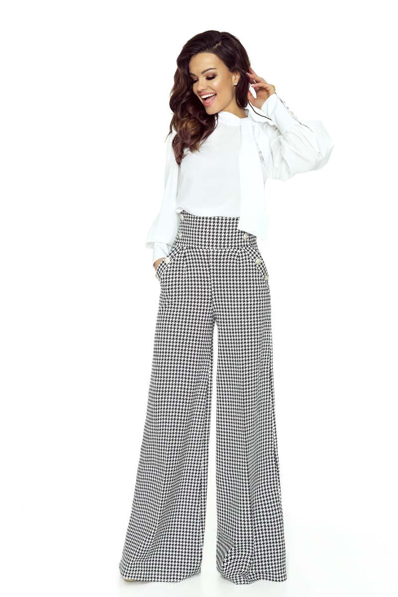 Houndstooth Pattern Wide Legs&High Waist Trousers