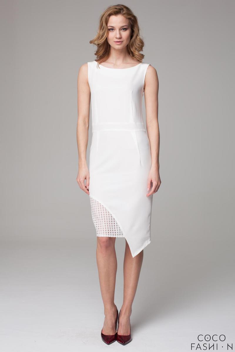 Ecru Asymetrical Dress with Transparent Detail
