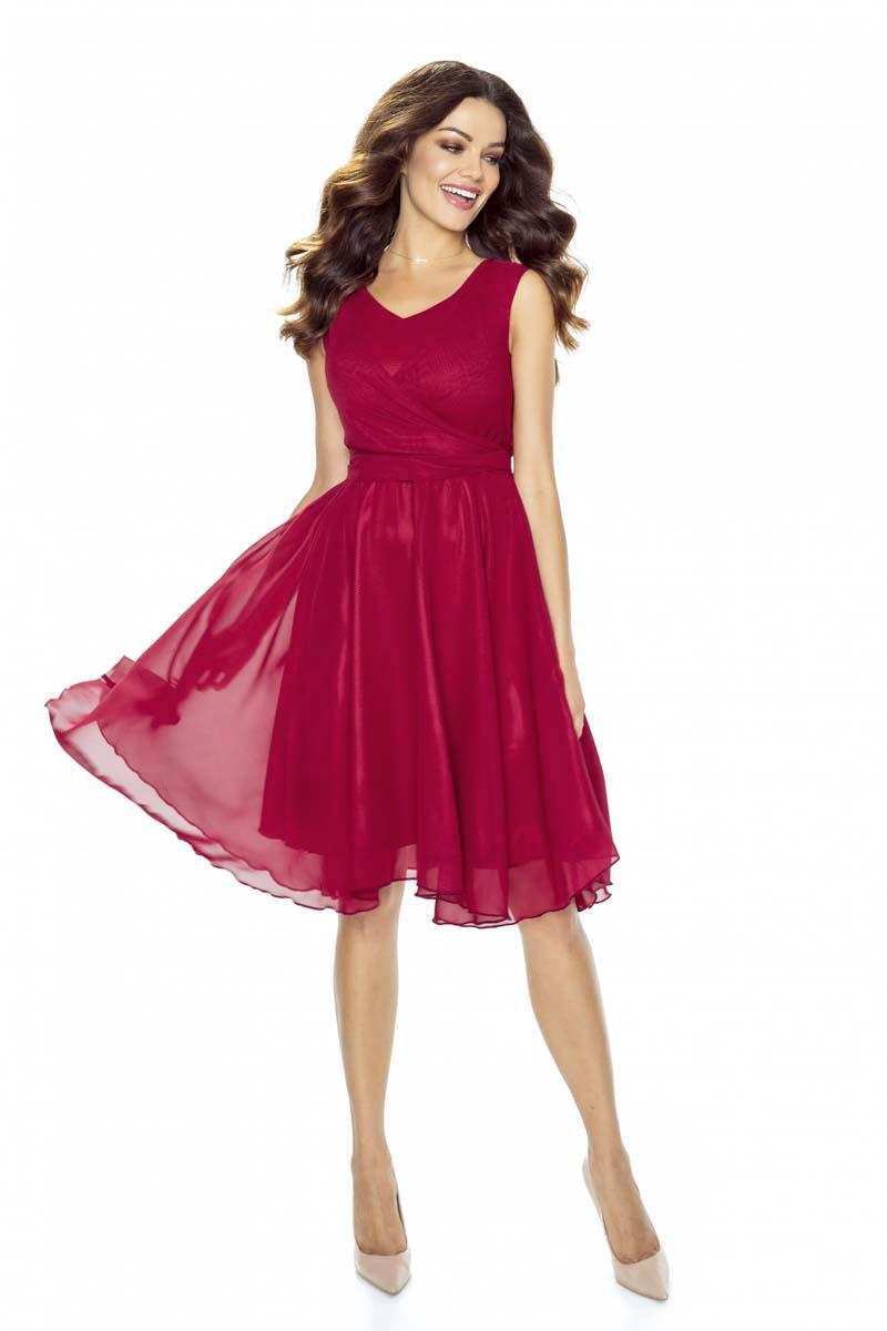 maroon-chiffon-coctail-dress