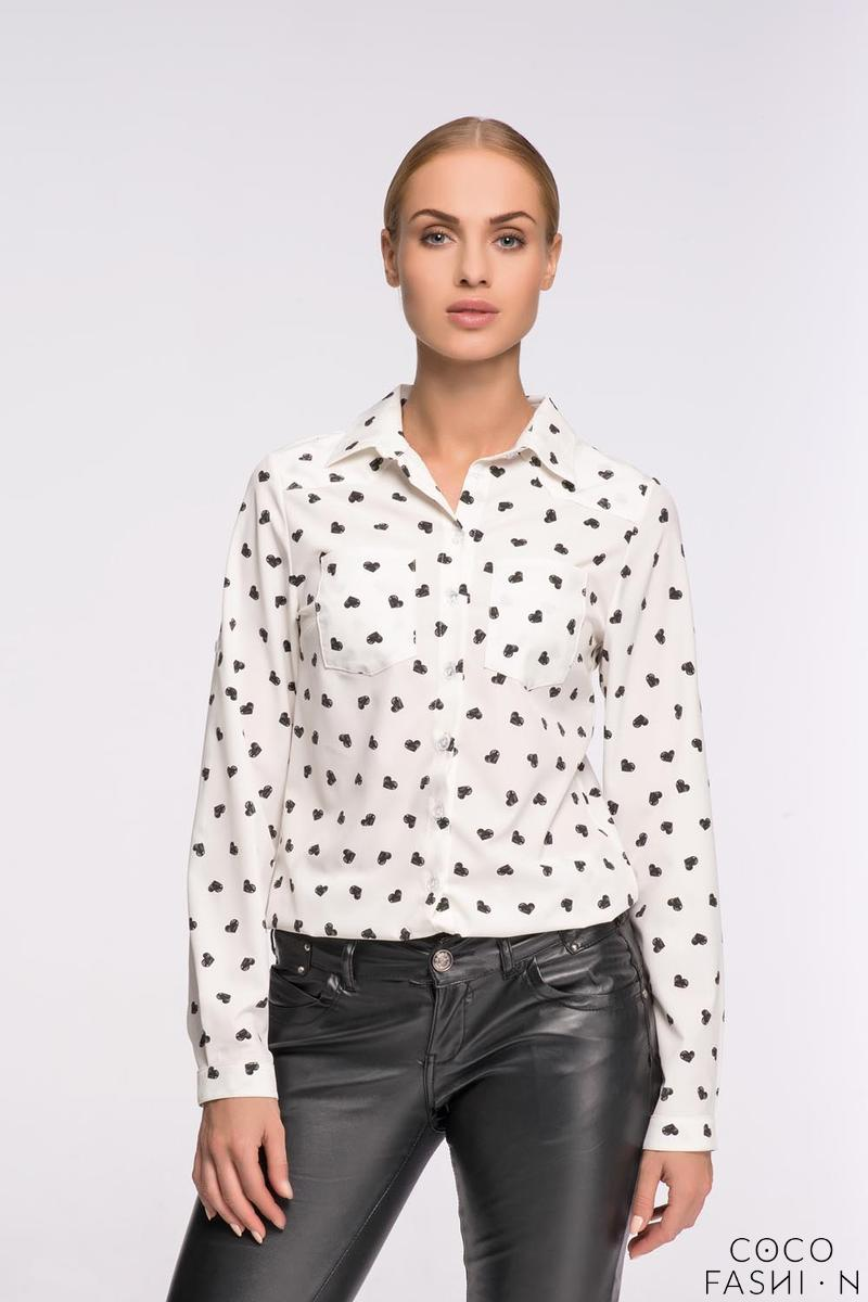 White Casual Ladies Shirt with Hearts Pattern
