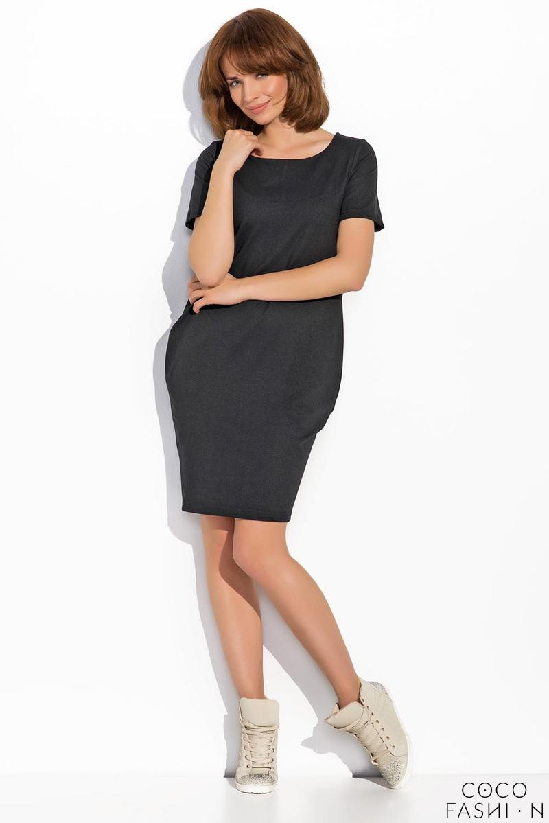 Black Classic Casual Dress with Pockets