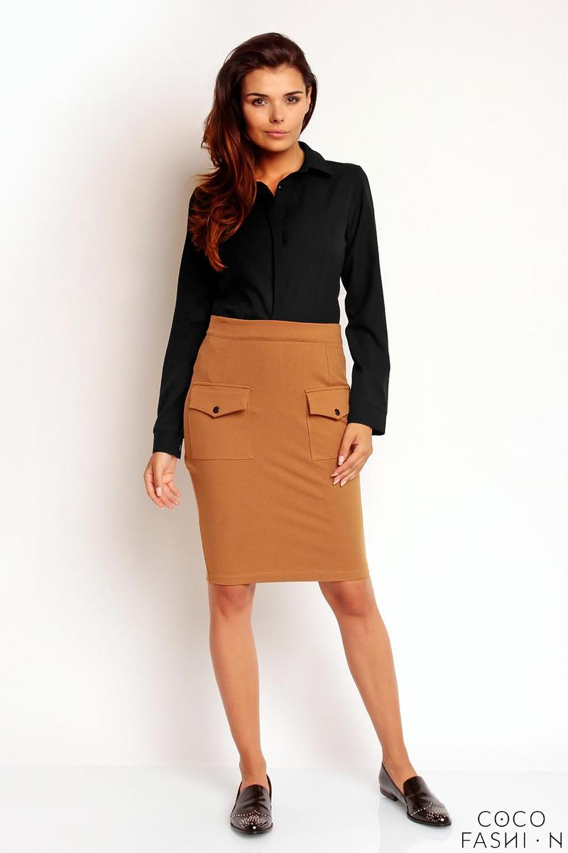 Brown Slim High Waist Front Pockets Skirt