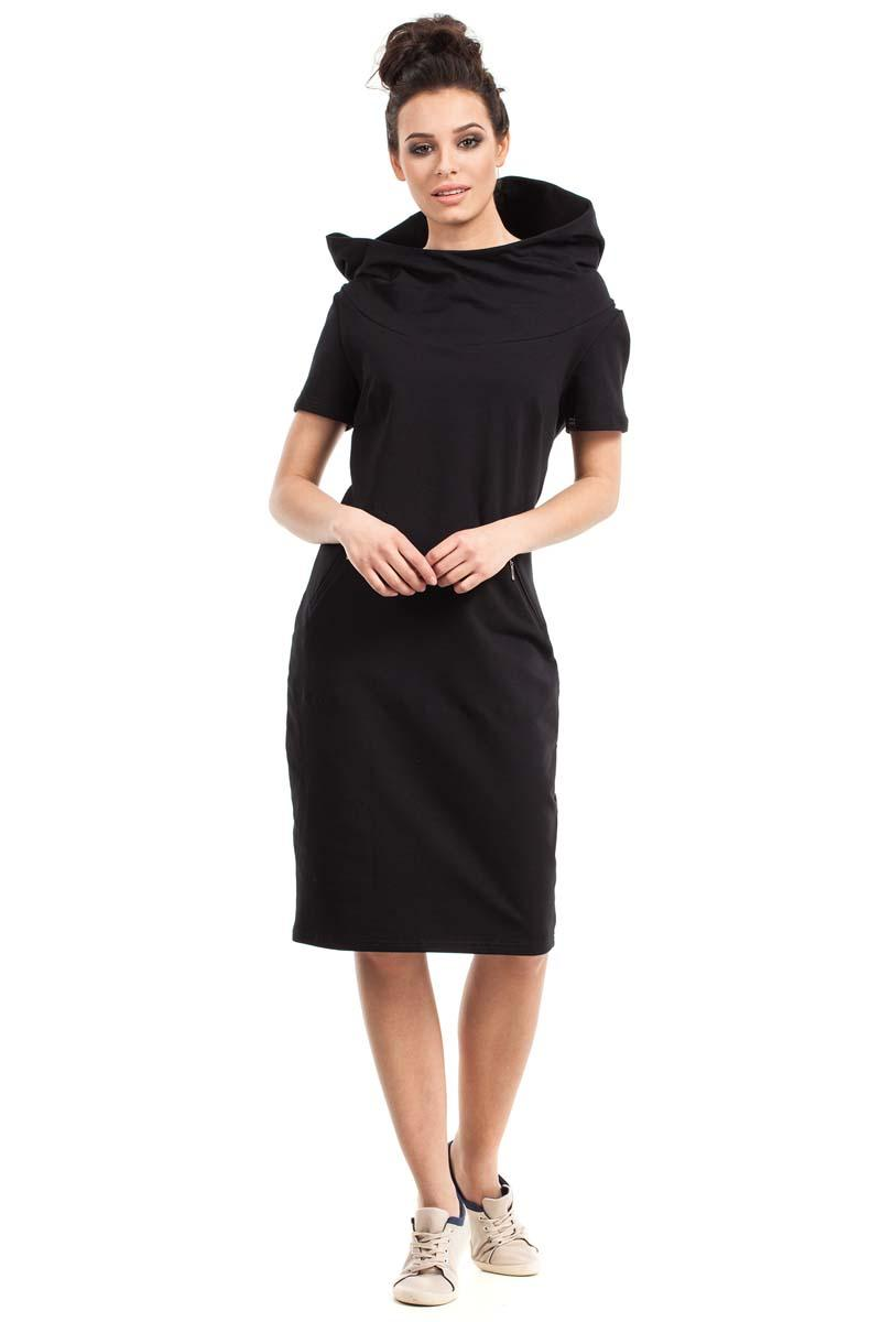 Black Sport Style Hooded Midi Dress