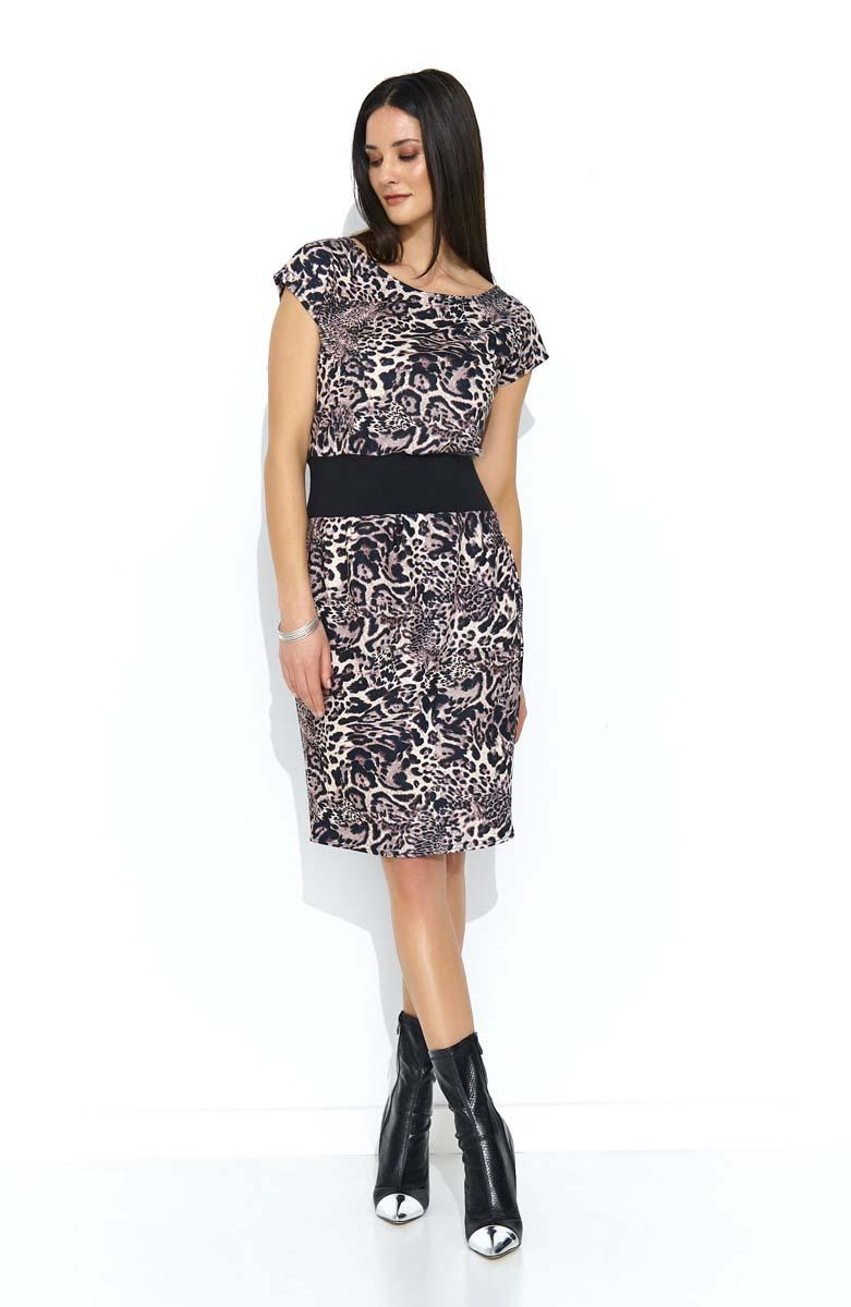 Beige Brown Christmas Dress with Mini Sleeve in Animal Print