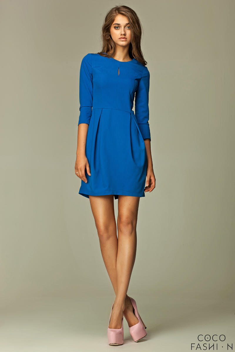 Seam Blue Dress with Wide Pleated Skirt