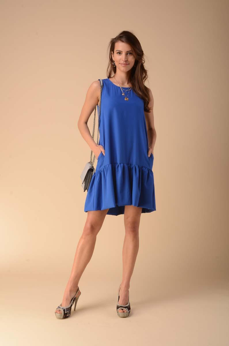 Summer Dress with a Frill at the Bottom - Blue