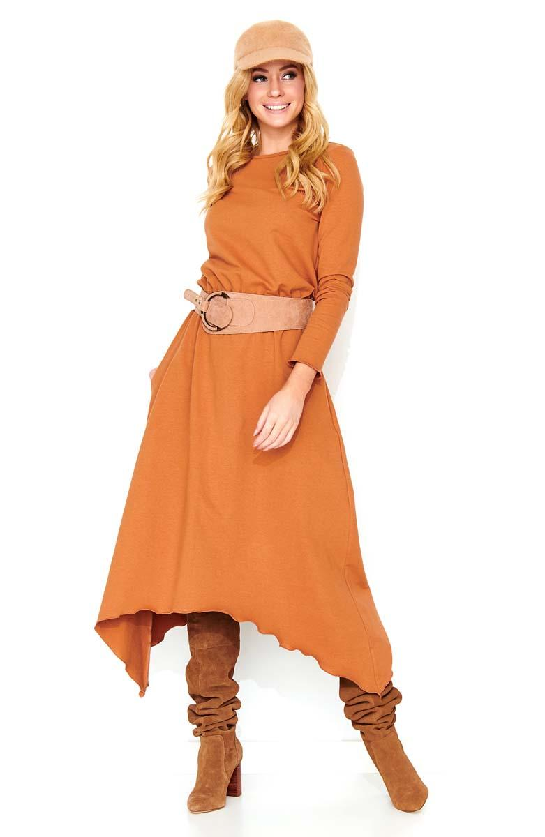Camel Brown Asymetrical Midi Dress