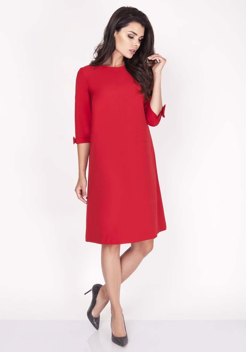 Red Mini Trapeze Dress with Charming Bows
