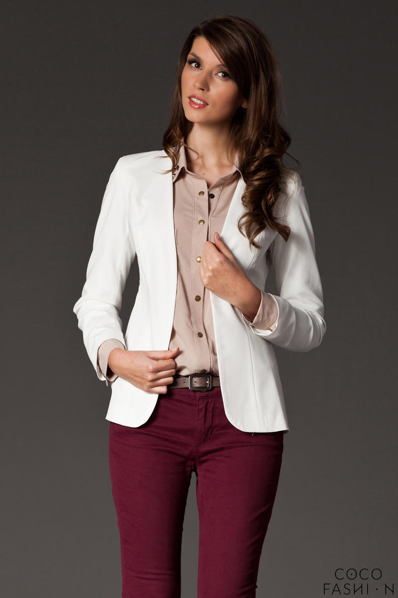 Puffed Shoulder Collarless Seam Ecru Blazer