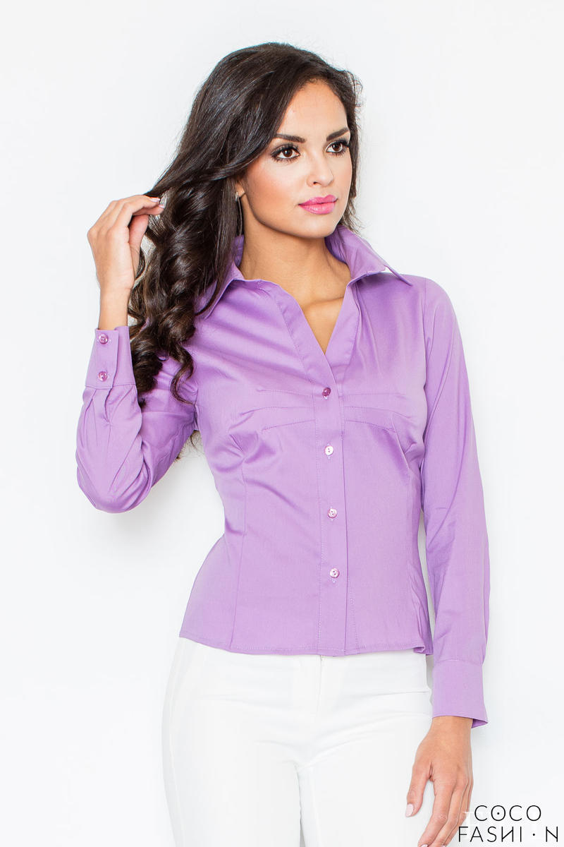 Collared Violet Shirt with Top Stitch Bust Seams
