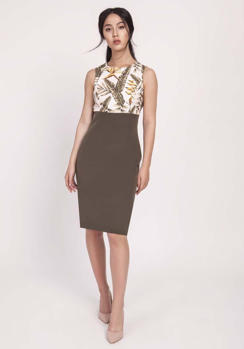 Classic Khaki Pencil Dress from Combined Materials