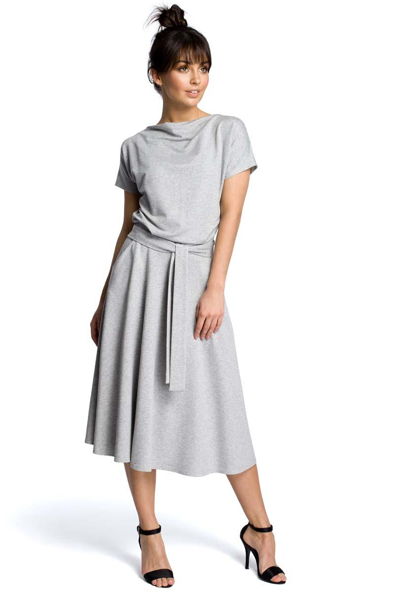 Grey Midi Flared Dress Tied at the Waist