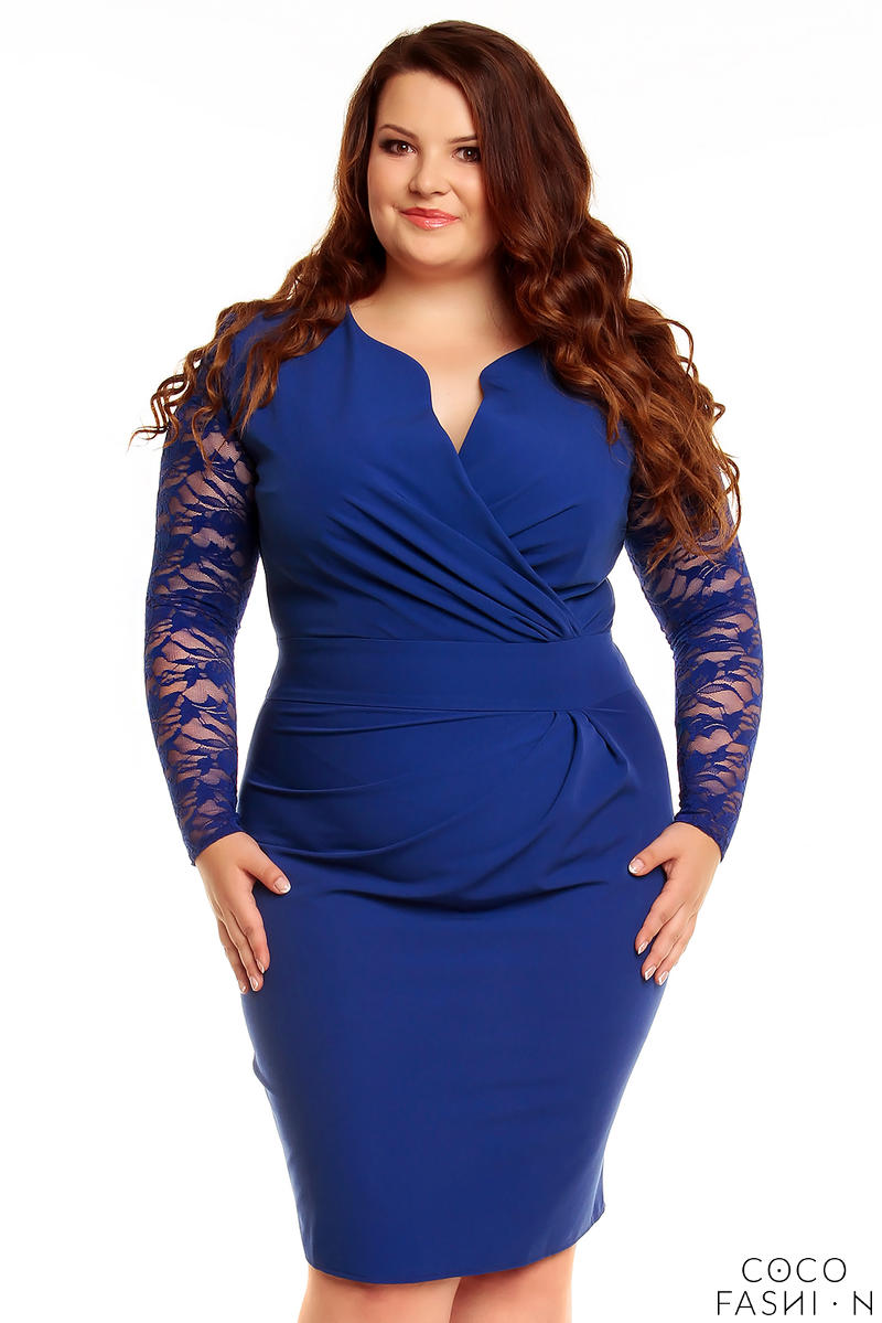 Blue Elegant Lace Sleeves Slim Waist Evening Dress PLUS SIZE