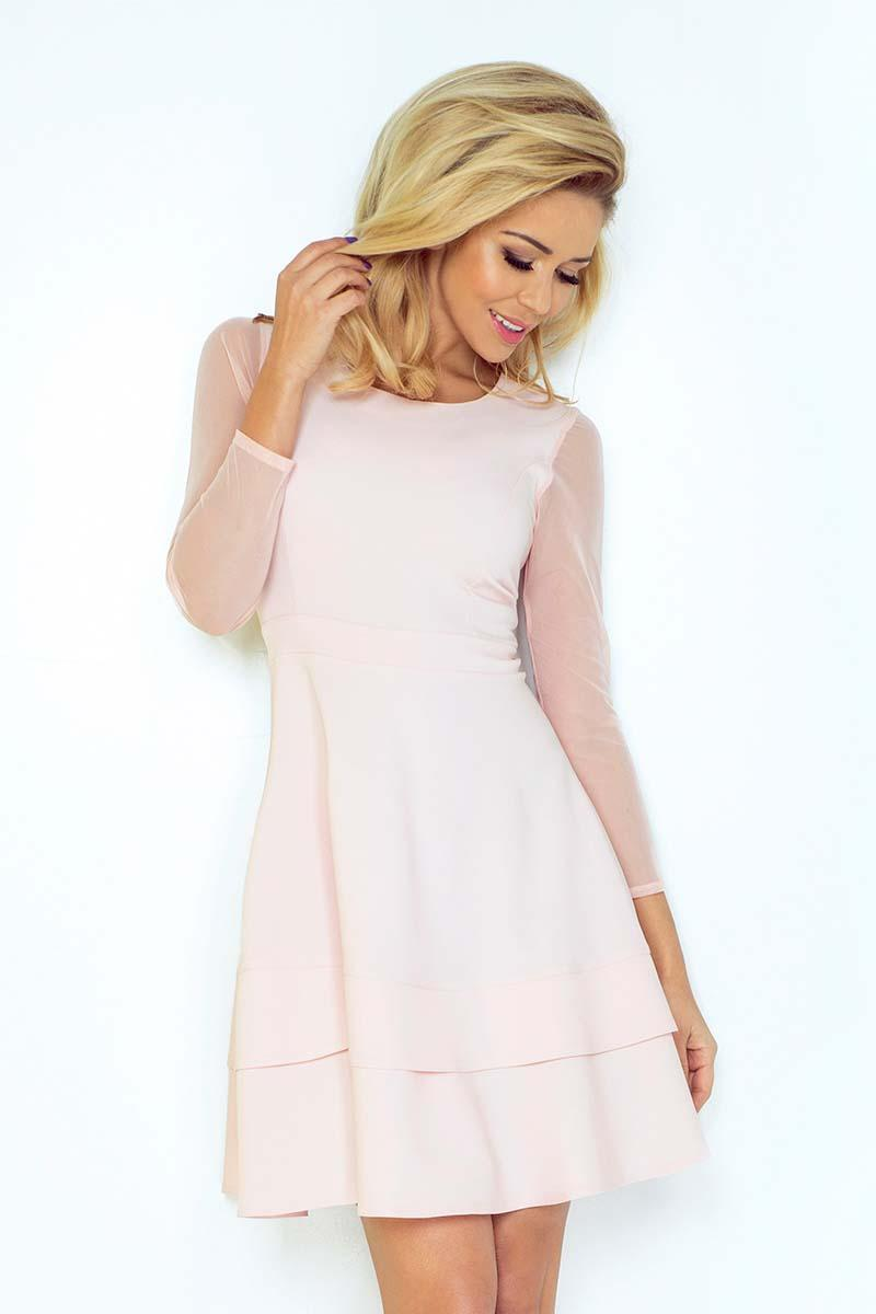 Powder Pink Coctail Dress with Transparent Sleeves