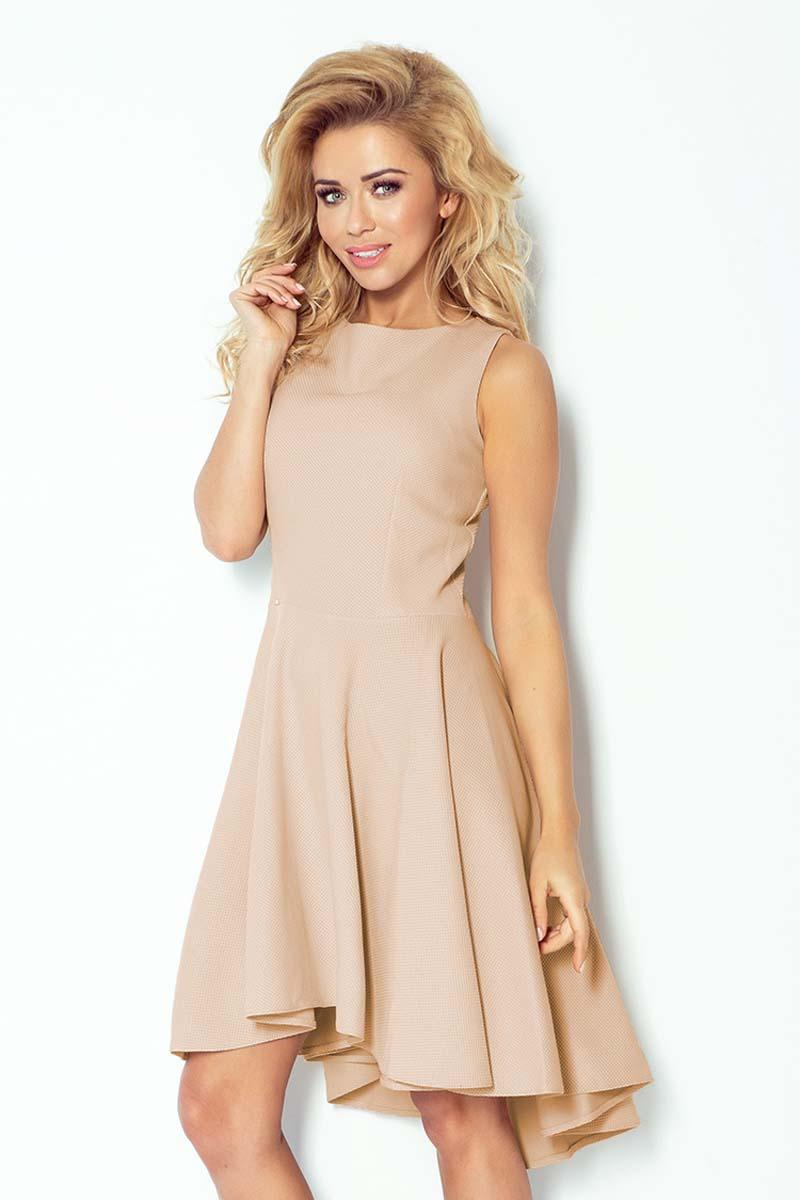 Beige Asymetrical Light Pleats Coctail Dress