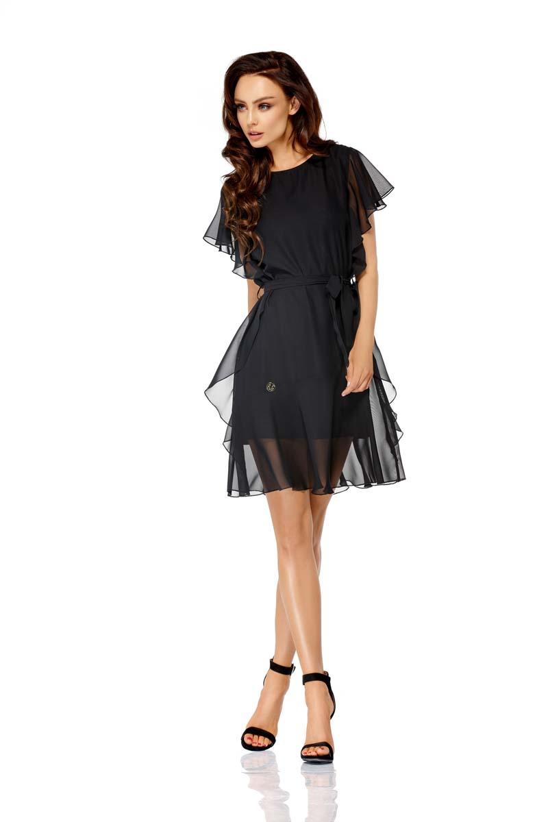 Black Airy Dress with Frills Tied Stripe
