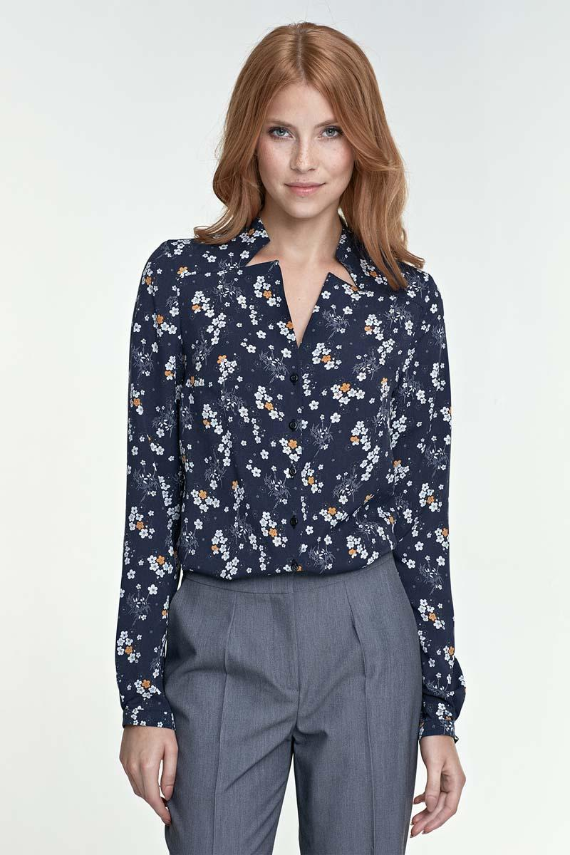 Dark Blue Floral V-Neckline and Classic Collar Shirt