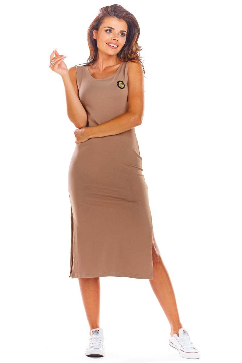 Beige Cotton fitted dress with slits