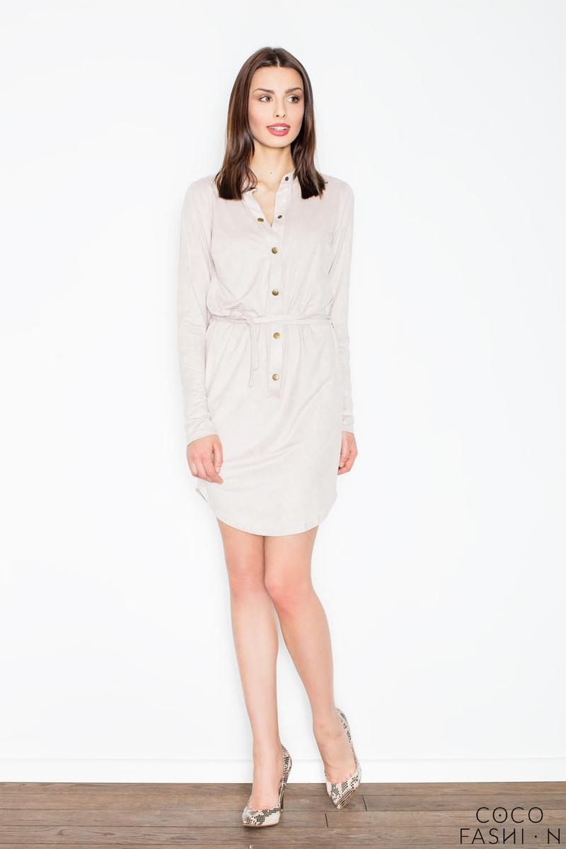 Beige Snaps Closure Mini Dress