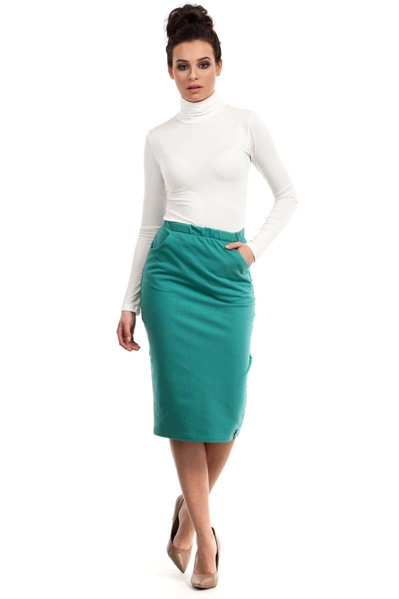 Green Bodycon Fit Midi Skirt