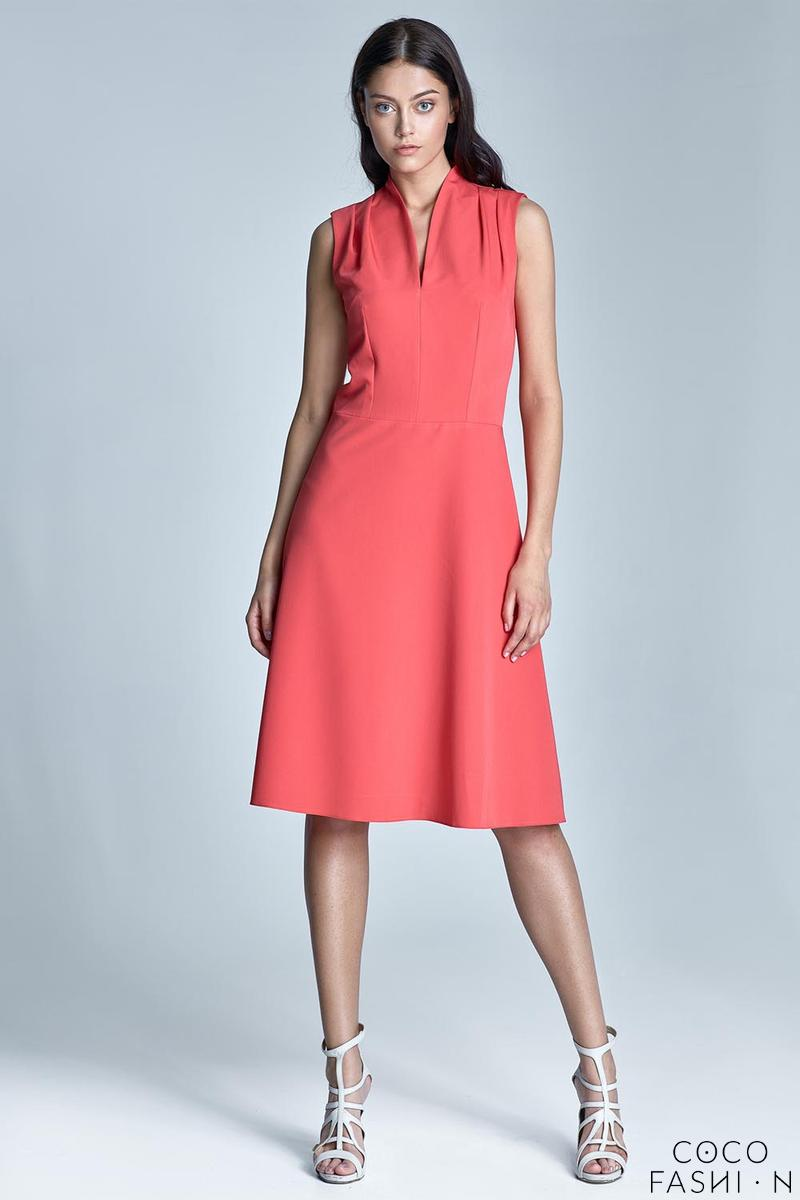 coral-v-neckline-midi-dress