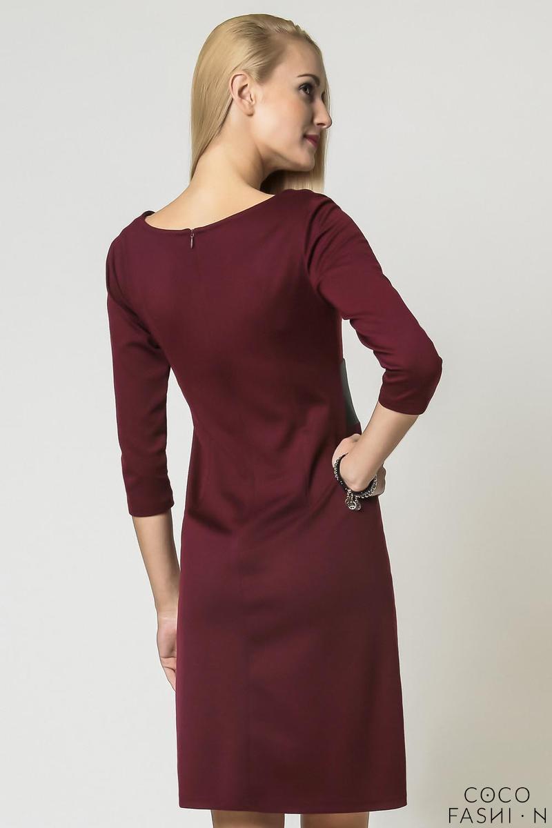 maroon elegant eco leather black waist office dress