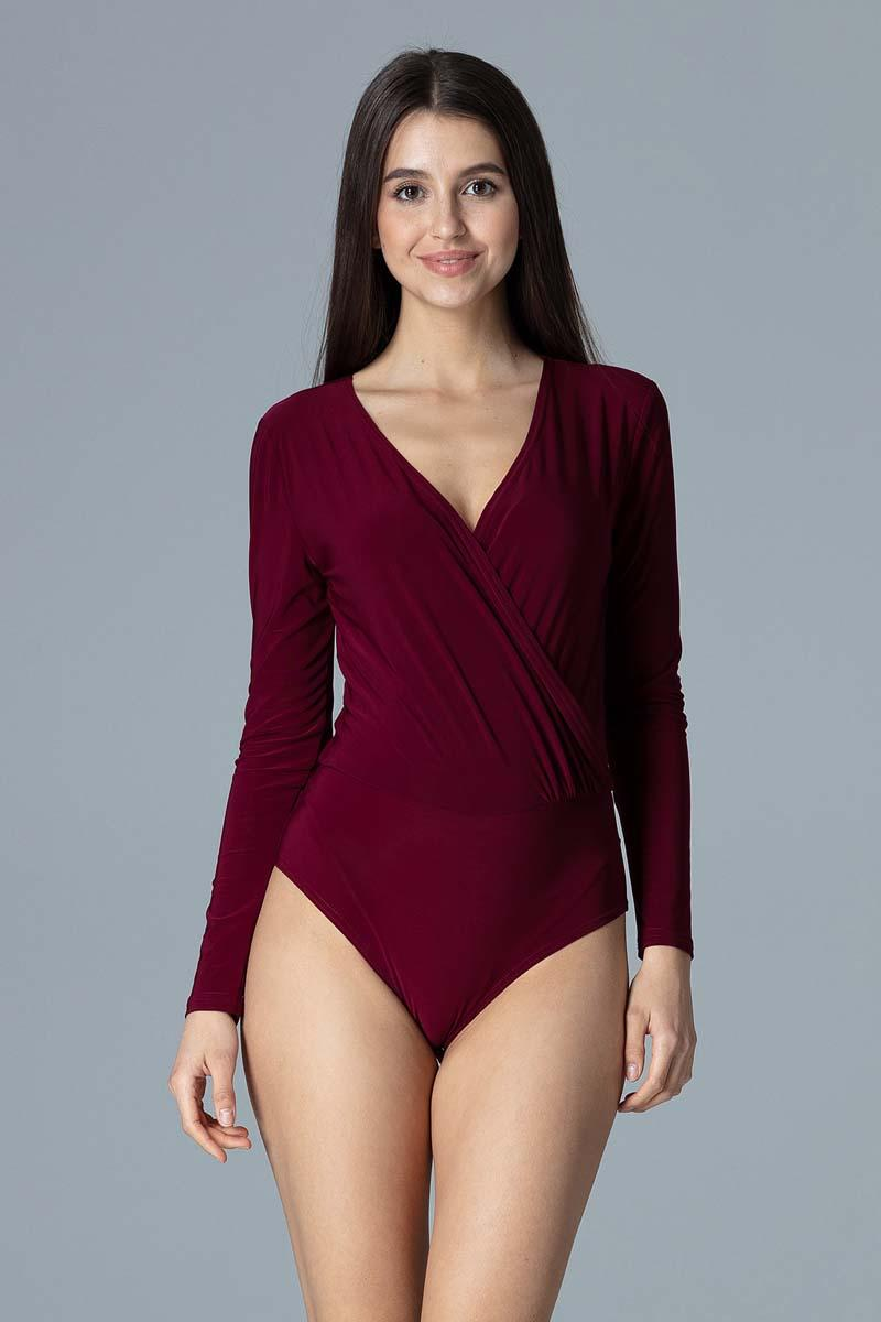 Maroon Wrap Front Body Suit
