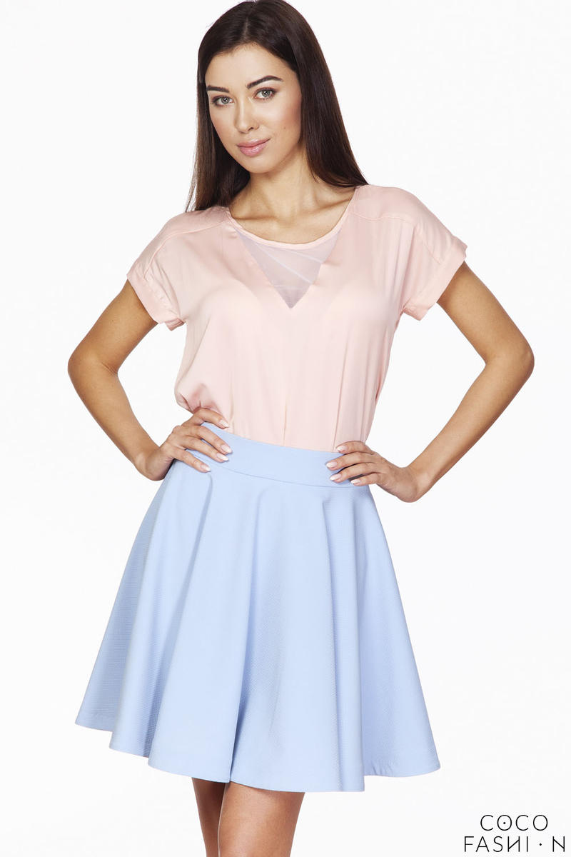 Pink Short Sleeves Blouse with Transparent Neckline