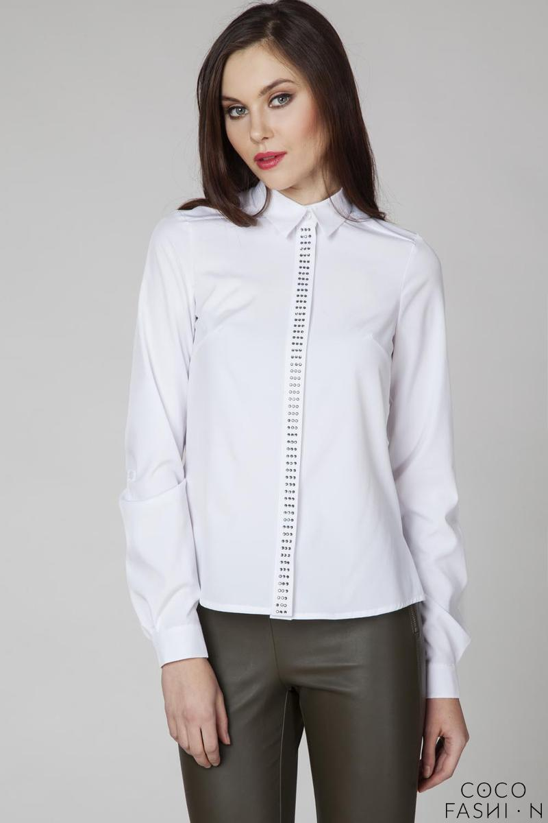 White Classic Long Sleeves Decorative Shirt