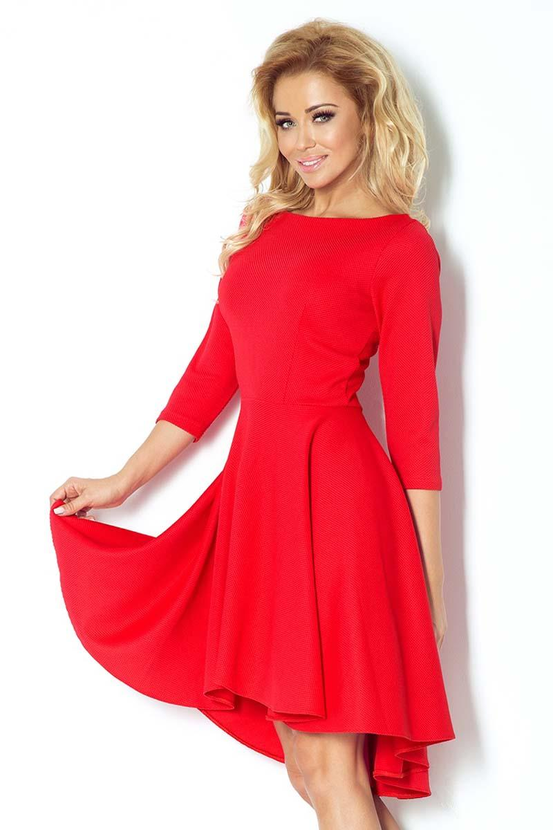 Red 3/4 Sleeves Asymetrical Coctail Dress