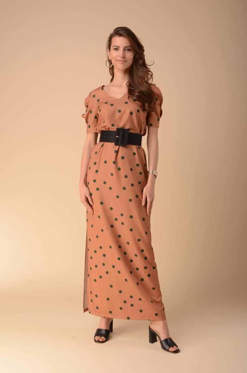 Simple Maxi Dress with a Cut on the Sleeves - Camel