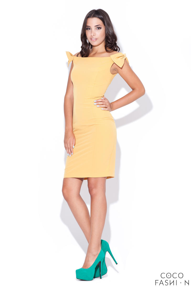 Mustard Mimic Bow Top Bandeau Dress