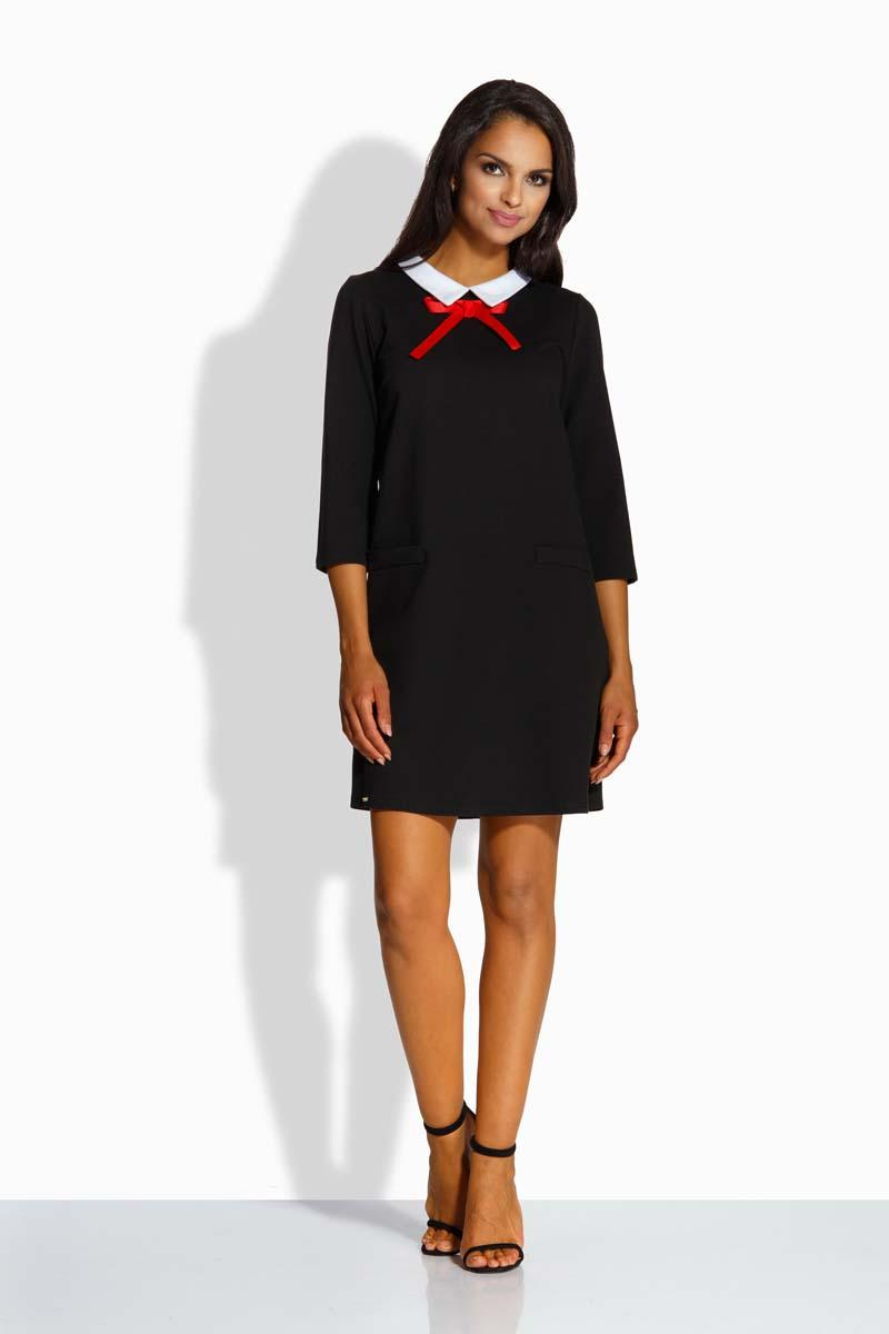 Black Mini Dress With White Collar and Red Ribbon