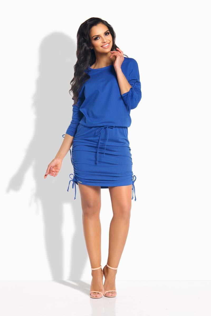 blue-drawstring-sport-style-dress