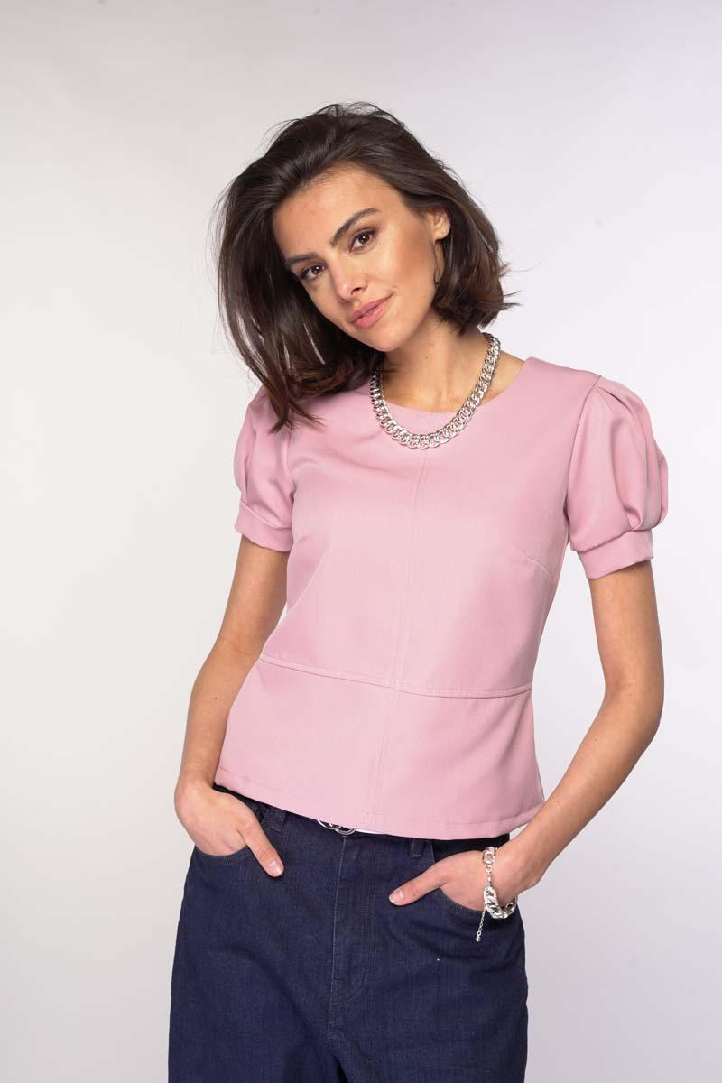 Blouse with a Basque Puff Sleeve - Light pink