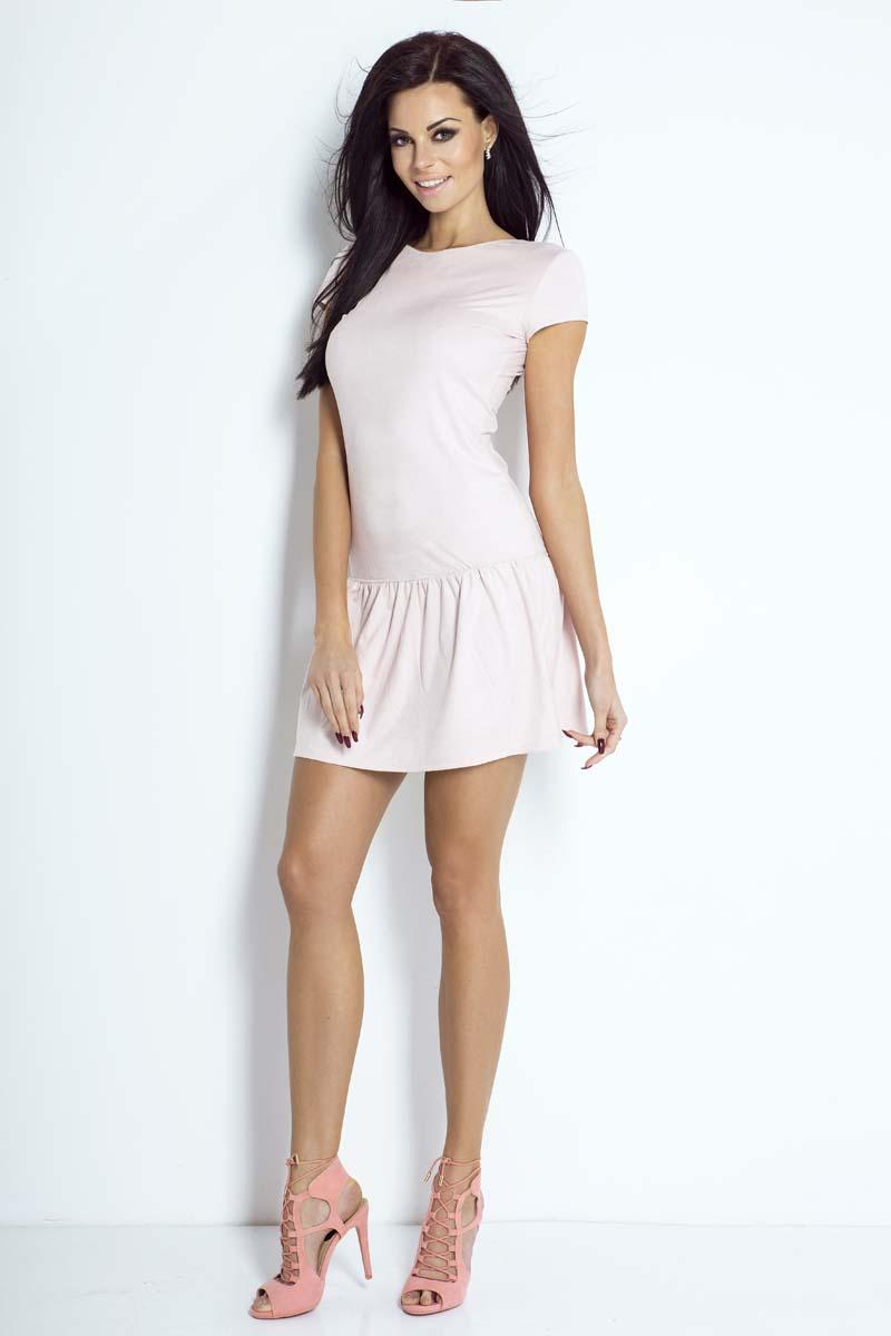 pink-short-sleeves-mini-dress-with-a-frill